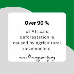 over 90% of Africas deforesation is caused by agricultural development